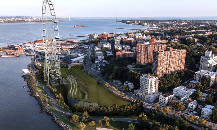 A rendering of the New York Wheel, billed as the world's largest Ferris wheel, along with a new retail complex and hotel on Staten Island, New York. (Courtesy of Mayor Michael Bloomberg's Office)