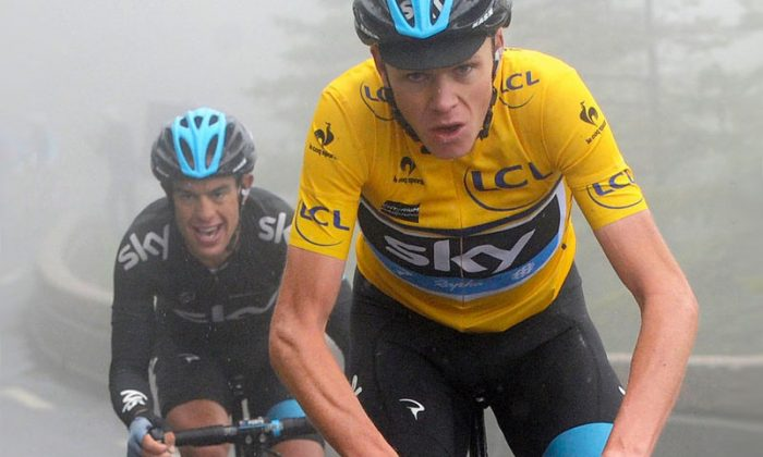 Chris Frrome and Ritchie Porte (L) of Sky Procycling attack near the end of the final stage of the 2013 Critérium du Dauphiné. The finished 2–3 in the stage, and first and scond in General Classification. (teamsky.com)