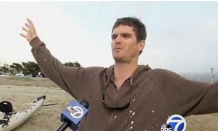 Micah Flanaburg describes the shark attack he survived unscathed off the coast of California near Pacifica State Beach on Tuesday, June 25, 2013. (Screenshot/ABC 7)