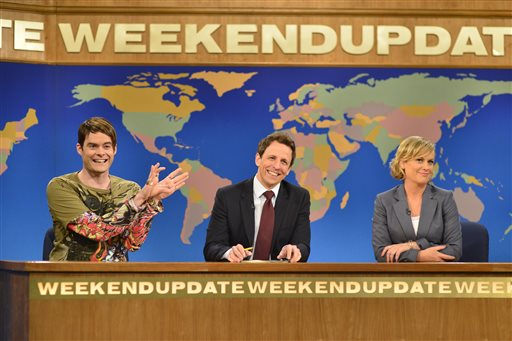 "Bill Hader, Seth Meyers, Amy Poehler appear in the ""Weekend Update"" skit on an episode of ""Saturday Night Live,"" in New York on May 18. KSL-TV, owned by The Church of Jesus Christ of Latter-day Saints, plans to begin airing first-run Saturday Night Live episodes this fall after years of refusing to air the popular comedy show. (AP Photo/NBC, Dana Edelson)"