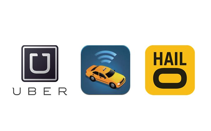 Logos for the three e-hail apps officially approved for use in New York City by the Taxi and Limousine Commission.
