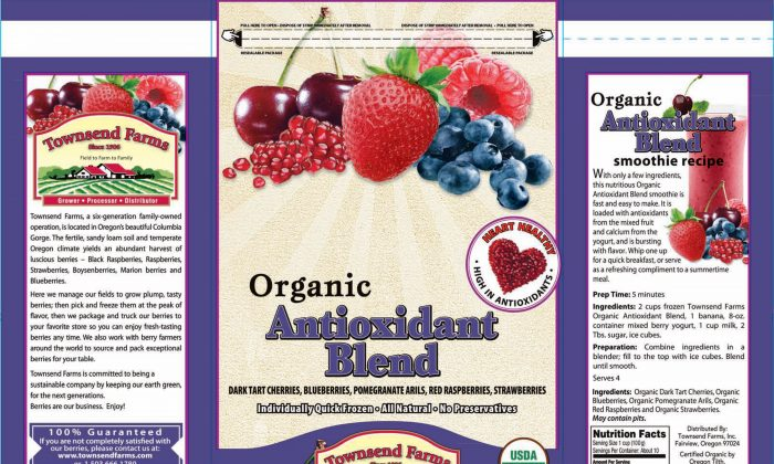 This handout image provided by the Food and Drug Administration shows the label of Townsend Farms of Fairview, Ore., Organic Antioxidant Blend. The Oregon company is recalling a frozen berry mix sold to Costco and Harris Teeter stores after the product was linked to at least 34 hepatitis A illnesses in five states. (AP/FDA)