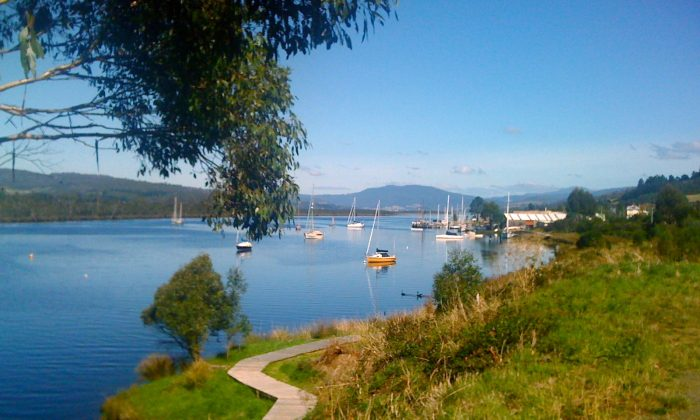 The tranquility of Franklin, built on the Huon River. (Chani Blue/The Epoch Times)