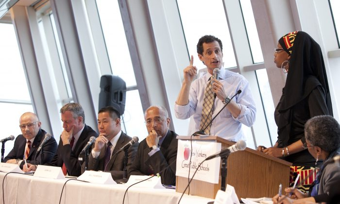 (L-R) Former City Councilman Sal Albanese, Public Advocate Bill de Blasio, City Comptroller John Liu, former NYC Comptroller Bill Thompson, and former Congressman Anthony Weiner at a forum hosted by New Yorkers for Great Public Schools at NYU's Kimmel Center in Manhattan on May 28. (Samira Bouaou/The Epoch Times)