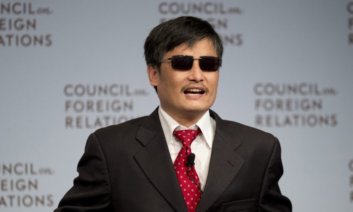 Chinese dissident Chen Guangcheng speaks at the Council on Foreign Relations on May 31, 2012 in New York. A statement, released on June 17, states he is being forced from his fellowship at New York University due to pressure from the Chinese regime, allegedly in response to Chen's outspoken advocacy for human rights in China. (Don Emmert/AFP/Getty Images)