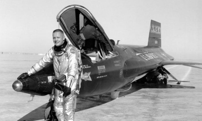 This 1960 image provided by NASA shows Neil Armstrong standing by an X-15 rocketplane after a test flight. Armstrong later went on to become the first man to walk on the moon. A bill in Congress wants to rename the  NASA Dryden Flight Research Center in Southern California after the Apollo 11 astronaut to honor his time there as a test pilot. (AP Photo/NASA)