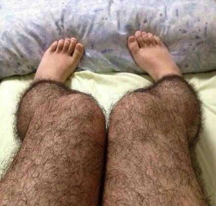 Want to discourage perverts (or suitors)? Try on a pair of these. A photograph of the hairy stockings that went viral in China recently. (Weibo.com)
