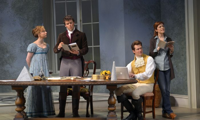 "(L-R) Rebekah Brockman as Thomasina Coverly, Jack Cutmore-Scott as Septimus Hodge, Adam O'Byrne as Valentine Coverly, and Gretchen Egolf as Hannah Jarvis in the last scene of Stoppard's ""Arcadia,"" in which past and present come together. (Kevin Berne)"