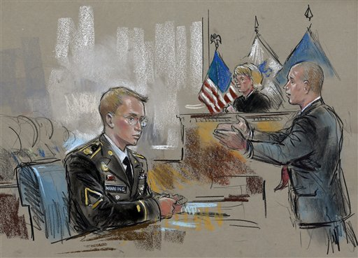 In this courtroom sketch, Army Pfc. Bradley Manning watches at left as his defense attorney, David Coombs, right, speaks in front of military judge Army Col. Denise Lind on the opening day of Manning's court martial in Fort Meade, Md., Monday, June 3, 2013. Manning, who was arrested three years ago, is charged with indirectly aiding the enemy by sending troves of classified material to WikiLeaks. He faces up to life in prison. (AP Photo/William Hennessy)