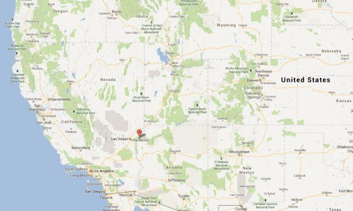 A Google Maps screenshot shows the Lake Mead National Recreation Area along the Nevada and Arizona border.