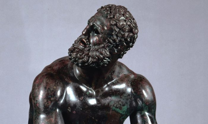 """Boxer at Rest,"" Greek, Hellenistic period, late 4th–2nd century B.C. Bronze with copper inlays, H. 50 3/8 in. (Museo Nazionale Romano)"
