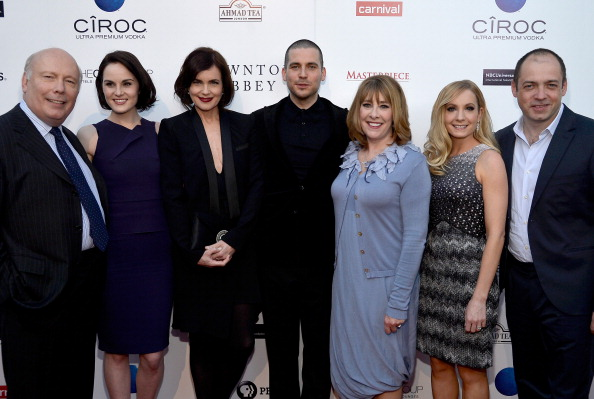 "(L-R) Creator Julian Fellowes, actors Michelle Dockery, Elizabeth McGovern, Rob James-Collier, Phyllis Logan, Joanne Froggatt, and executive producer Gareth Neame attend ""An evening with Downton Abbey"" at Leonard H. Goldenson Theatre on June 10 in North Hollywood, Calif. A line of Bordeaux clarets and Bordeaux blancs will be named after the show. (Photo by Frazer Harrison/Getty Images)"