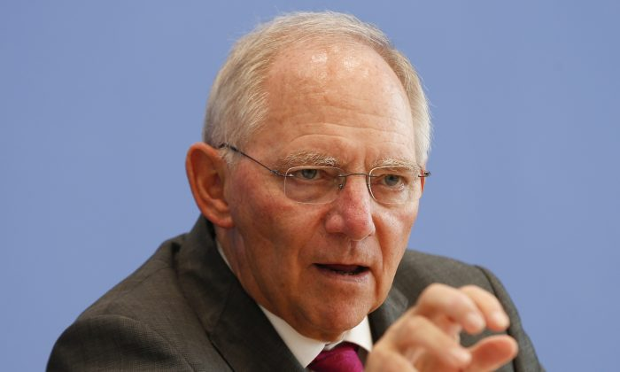 German Finance Minister Wolfgang Schaeuble at a press conference in Berlin, Germany on June 26, 2013. (AP Photo/Markus Schreiber)