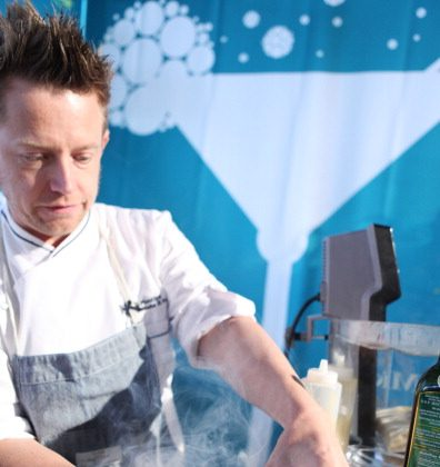 Celebrity Chef Richard Blais prepares a dish utilizing molecular gastronomy at the New York City Wine And Food Festival  Oct. 13, 2012 in New York City. (Andrew Kent/Getty Images)