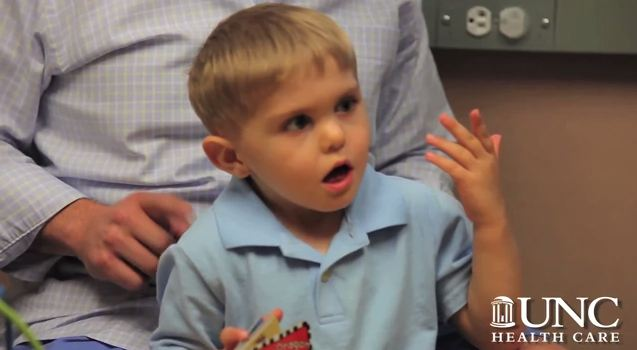 3-year-old Grayson Clamp of Charlotte, NC is the first child to receive an auditory brain stem implant, which allows him to hear and likely to eventually speak well. (Screenshot UNC Health Care)