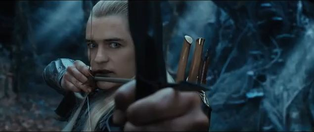 """Orlando Bloom as Legolas in the second of the """"Hobbit"""" movies, for which a new trailer was just released. (Screenshot/YouTube)"""