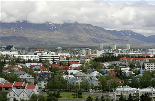 In this Saturday, May 31, 2008, file photo, a view across Reykjavík in Iceland from Oskjuhlíd Hill. (AP Photo/Kirsty Wigglesworth, File)