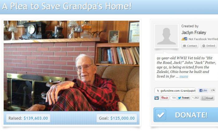 A screenshot of GoFundMe.com shows John Potter's petition to save his home.