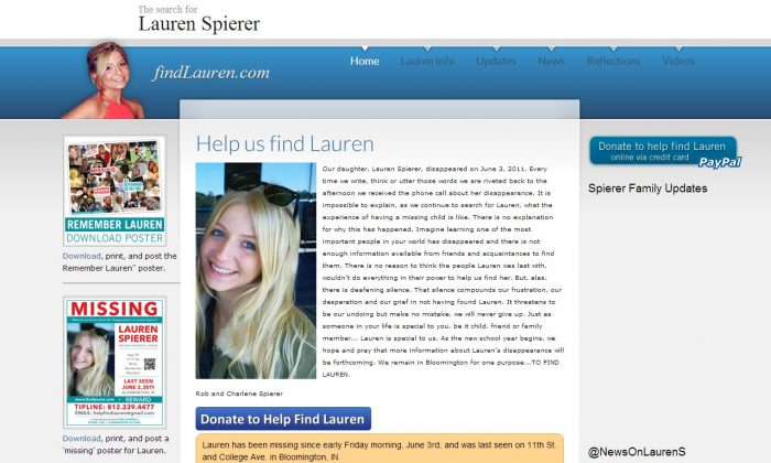 A screenshot of www.findlauren.com shows missing college student Lauren Spierer.