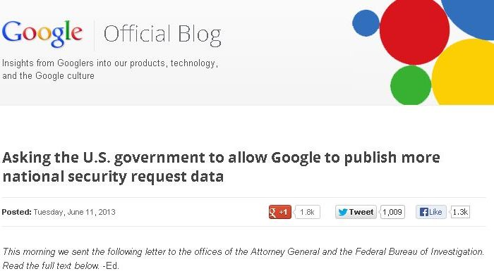 A screenshot of the beginning of a letter from Google to the Department of Justice and FBI, asking for permission to reveal details about government monitoring of Google. (Screenshot/Google)