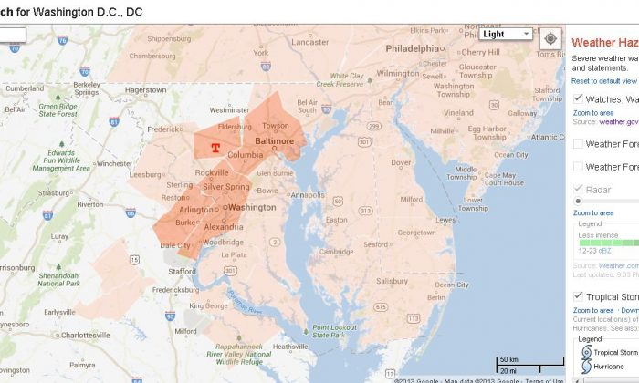 A tornado watch issued by the National Weather Service for Washington D.C. on June 10, as of now through 10 p.m. EDT. (Screenshot/Google Public Alerts)