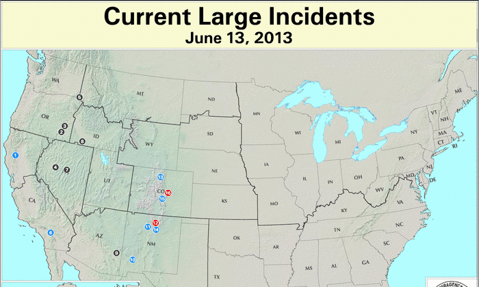 Current large fire incidents across the United States on June 13. (USDA Forest Service)