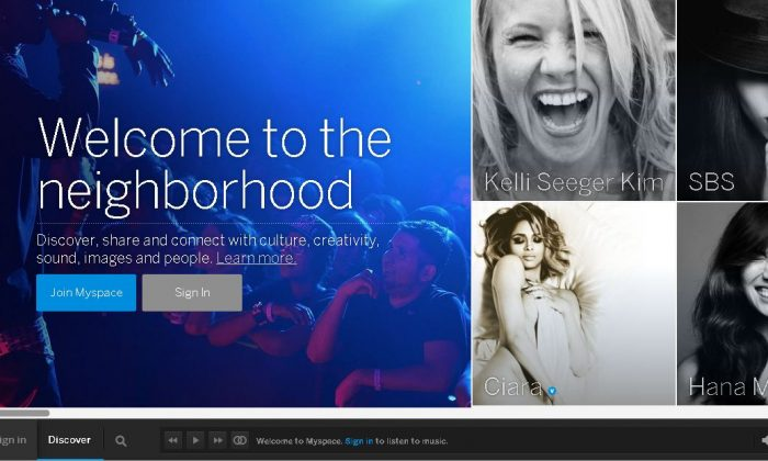 A screenshot of the newly relaunched MySpace.