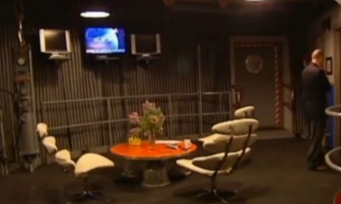 A screenshot of WTSP-TV shows the inside of the nuclear silo home.