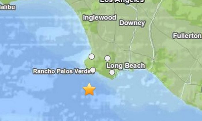 A screenshot of the USGS shows where the quake struck.