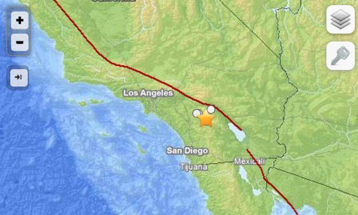 A screenshot of the USGS website shows the location of the earthquake, which hit near Anza, Calif.