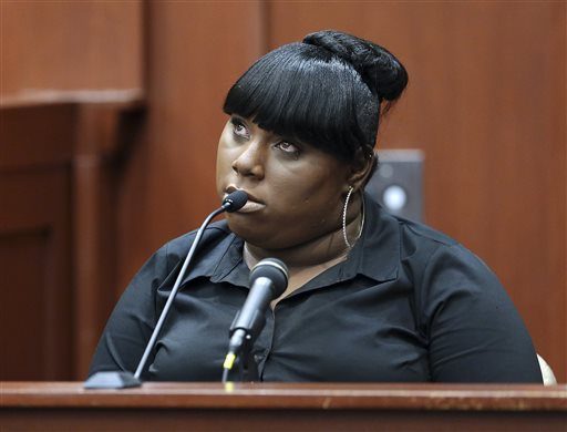 Rachel Jeantel, the witness that was on the phone with Trayvon Martin just before he died, gives her testimony during George Zimmerman's trial in Seminole circuit court in Sanford, Fla., Wednesday, June 26, 2013. Zimmerman has been charged with second-degree murder for the 2012 shooting death of Trayvon Martin. (AP Photo/Orlando Sentinel, Jacob Langston, Pool)