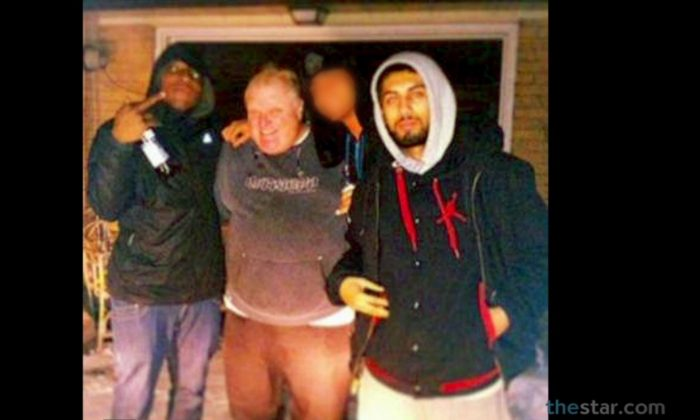 "A screenshot of the Toronto Star shows Mayor Rob Ford with two other men at what was reported as a house on 15 Windsor Rd. Neighbors said the home was a ""crack house."""