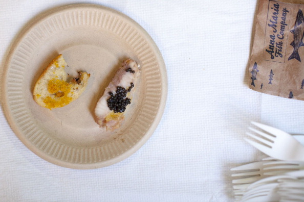 Mote Marine Laboratory's farm-raised sturgeon caviar and ciabatta with Bottarga shown during the U.S. Commerce Department's annual fish fry Wednesday, June 5, 2013, in Washington, D.C. (Jay Westcott/MCT via Getty Images)