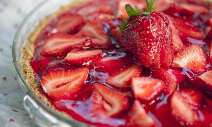 Fresh strawberry pie with cream cheese, and a nut crust. (Cat Rooney/The Epoch Times)