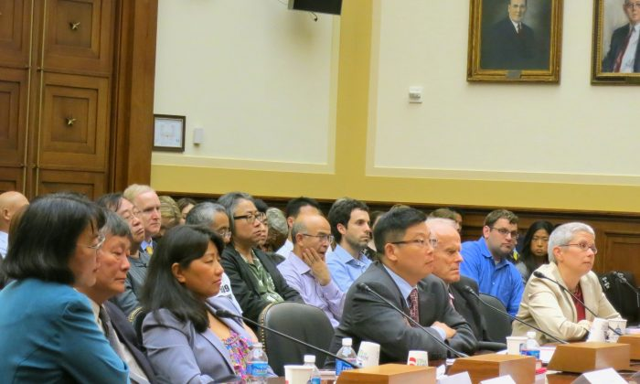 On June 3, Rep. Chris Smith convened a hearing marking the occasion of the 24th anniversary of the Tiananmen Square massacre of June 4, 1989. From left to right: Ciping Huang, the assistant and translator of Wei Jingsheng, a democracy activist; Wei Jingsheng; Chai Ling, a Chinese-American businesswoman and activist against forced abortion; Yang Jianli, a former Tiananmen student who runs an advocacy group promoting civil rights in China; David Aikman, a former Time Magazine reporter who witnessed the crackdown; Sophie Richardon, the China director at Human Rights Watch. (Nan Lin/The Epoch Times)