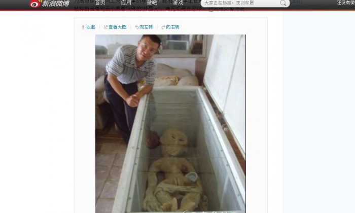 """A screenshot of Weibo shows the purported """"alien."""""""