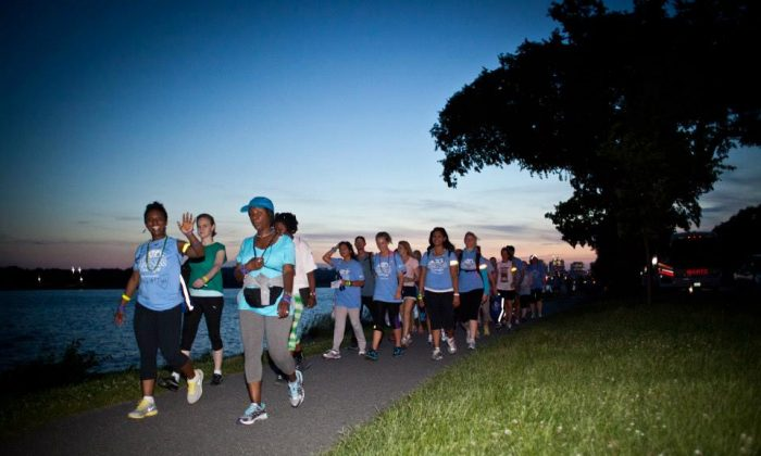 Overnight walkers near the Tidal Basin at the Out of the Darkness Overnight walk to raise awareness and funds for suicide prevention on June 1 in Washington, D.C.(Kerry Payne)