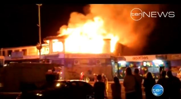 A fire in Coober Pedy's main street caused around $1 million in damage. (Screenshot/YouTube)