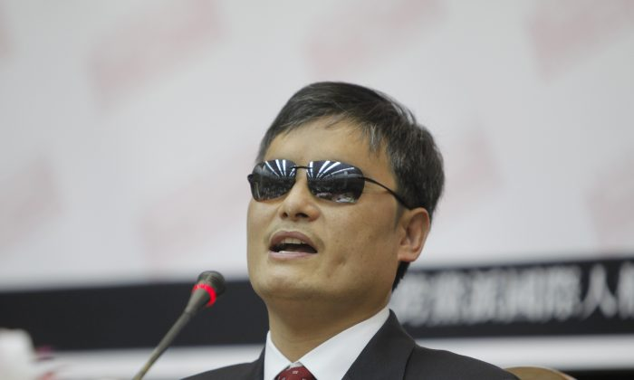 Chinese lawyer and human rights activist Chen Guangcheng is pictured visiting the Legislative Yuan in Taipei, Taiwan on June 25, 2013. (Ashley Pon/Getty Images)