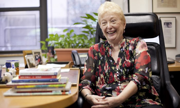 Barbara Zinn Krieger, founder of Making Books Sing, shares a laugh at her Midtown office on June 21. (Samira Bouaou/Epoch Times)