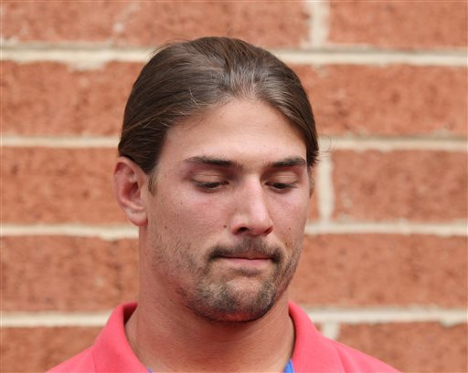 Philadelphia Eagles wide receiver Riley Cooper meets with the media at NFL football training camp on Wednesday, July 31, 2013, in Philadelphia. (AP Photo/Philadelphia Daily News, Yong Kim)