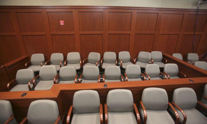 The Jury box for the Geroge Zimmerman trial in Sanford, Fla., is seen Monday June 17, 2013. (AP Photo/Orlando Sentinel, Joe Burbank, Pool)