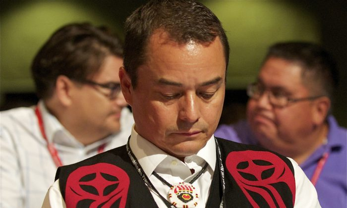 Shawn Atleo, seen here awaiting results of the final round of voting at the AFN leadership convention July 18, 2012, has faced ongoing criticism over his leadership of the Assembly of First Nations, but maybe that's more a problem with the AFN than Atleo, argues Joseph Quesnel. (Matthew Little/Epoch Times)