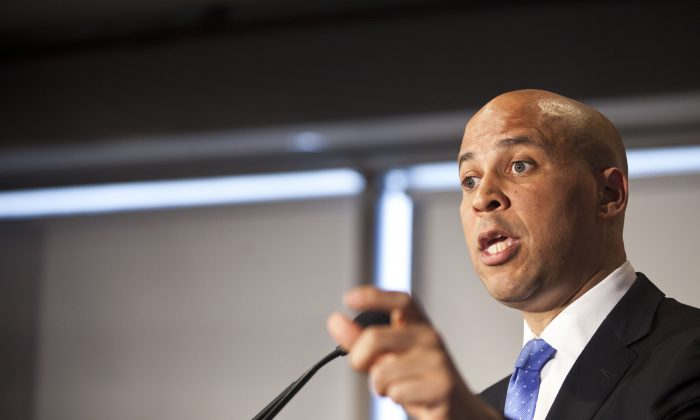 Newark Mayor Cory Booker speaks during a news conference on his plans to campaign for the Democratic nomination to run for the seat of late U.S. Sen. Frank Lautenberg on June 8, 2013 in Newark, New Jersey. (Ramin Talaie/Getty Images)