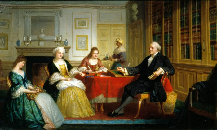 A painting of George Washington and family in his library at Mount Vernon. The Mount Vernon Ladies' Association announced in July that it had completed a home for Washington's papers, the Fred W. Smith National Library for the Study of George Washington. (Mount Vernon Ladies' Association)