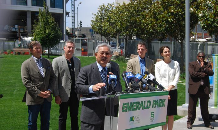 Mayor Ed Lee at Emerald Park, San Francisco, on July 25, 2013. Lee says more open spaces in the city will need to follow a private or semi-private and public partnership. (Catherine Yang/Epoch Times)
