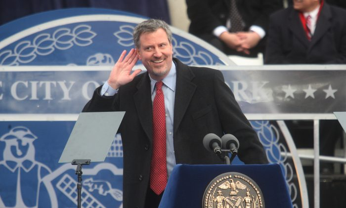 New York City Public Advocate Bill de Blasio after taking the oath of office on Jan. 1, 2010. (Photo by Hiroko Masuike/Getty Images)