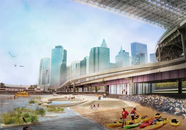 A rendering of the proposed concept for Brooklyn Bridge Beach. (Courtesy of WXY Architecture + Urban Design)