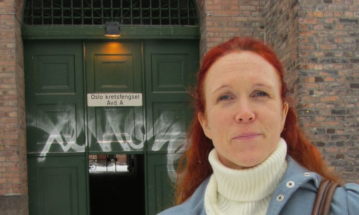 Ihrén Abrahamsson in front of Oslo fengsel (prison), in Oslo, Norway, March 13, 2013. Working in prison set Abrahamsson on a course of self-discovery and spreading awareness about Highly Sensitive Persons in writing and lectures. (Susanne Willgren/The Epoch Times)