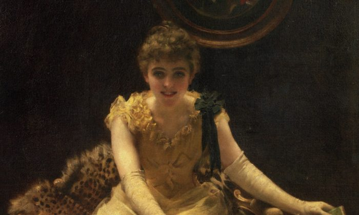"A detail of ""The Ace of Hearts,"" 1882, by Thomas Benjamin Kennington (1856-1916). Oil on canvas 50 3/8 by 40 9/16in.  (Image courtesy of Art Renewal Center)"